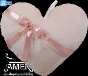 Плюшено розово сърце със сатенена панделка