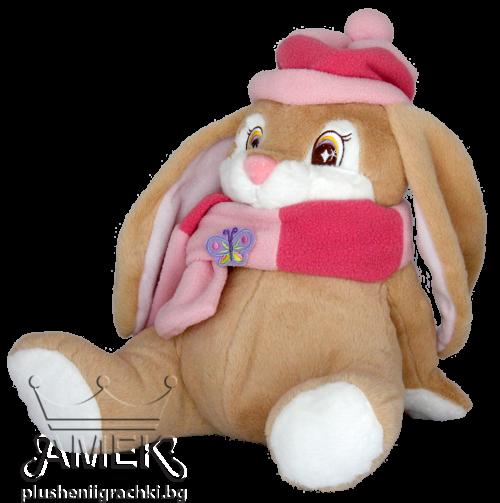 Заек с розов шал и шапка