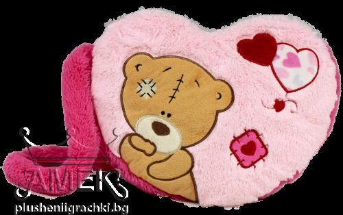 Розова чантичка-сърце с мече
