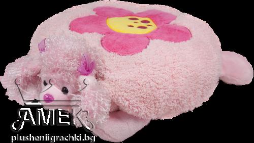 Плюшена възглавница| Пудел с цвете