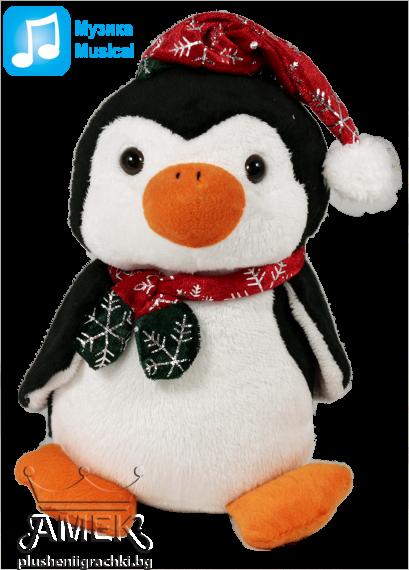 Пингвин с коледна шапка и шал