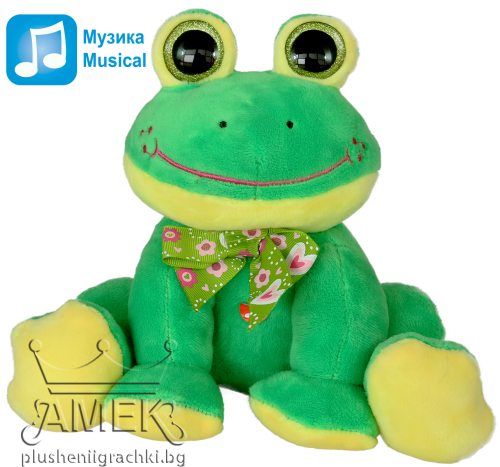 Sitting frog with bow