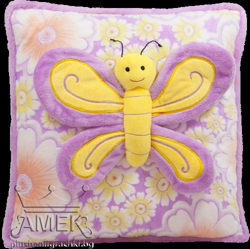 Плюшена възглавница с пеперуда| 6 цвята