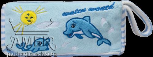 Плюшен несесер с делфини| 3 цвята| 22 см
