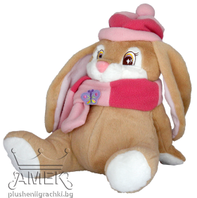 Rabbit with pink winter scarf and hat