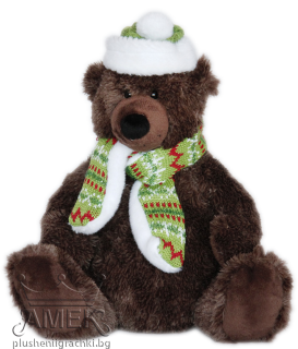 Bear with christmas scarf and hat