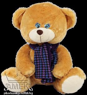 Teddy bear with a purple scarf