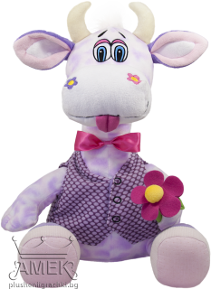 Purple cow with a bow and flower| 62 cm