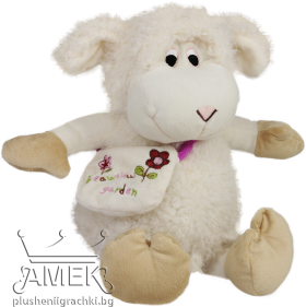 Sheep with embroidered bag