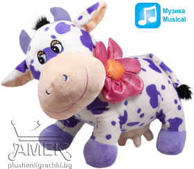 Purple cow with flower