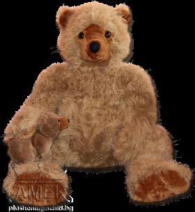 Голяма плюшена мечка с бебе мече
