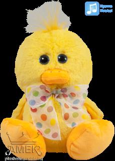 Плюшено жълто пате с панделка