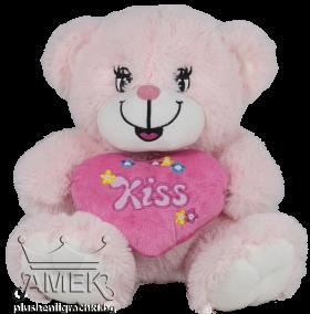 """Мече със розово сърце """"Kiss"""""""