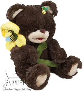 Teddy bear with be and flower
