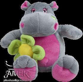 Хипопотам с цвете