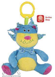 Lion with bow - baby rattle